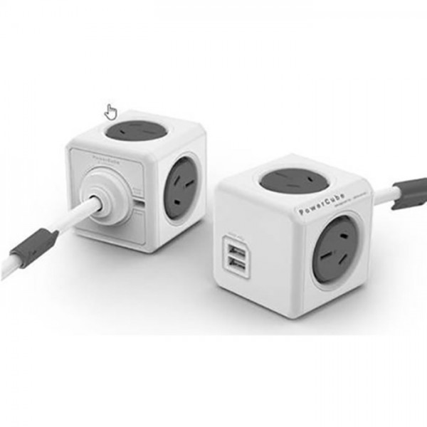PowerCube 4 Power Outlet and 2 USB Ports - White & Grey
