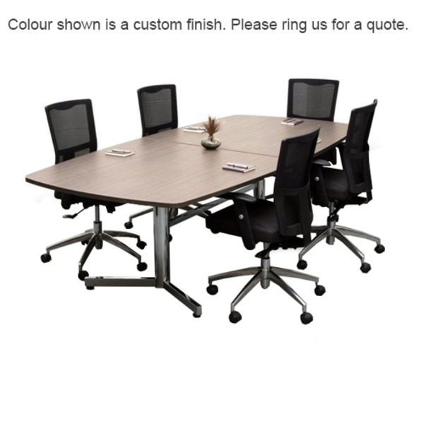 Elite Boat Shape Meeting Boardroom Table 2400 x 1200 Top & Chrome Base