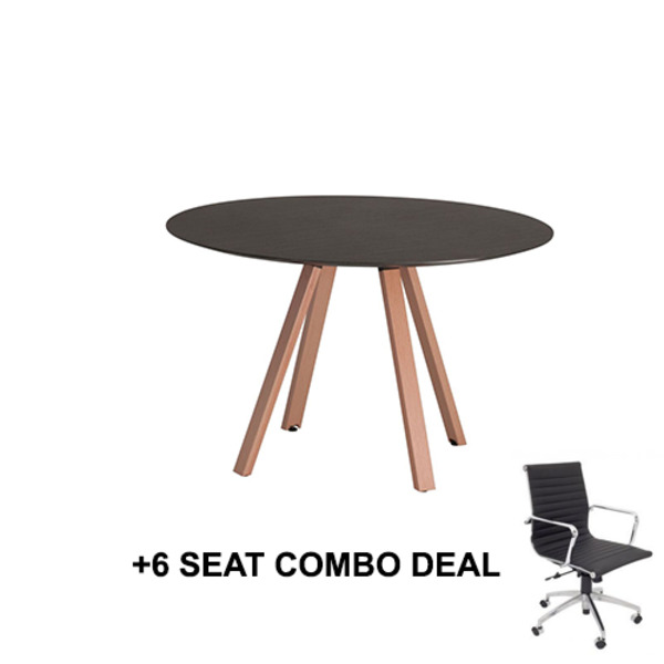 First Office Idea Round Meeting Table 1200 + 6 Chair Combo