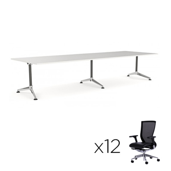 Modulus Boardroom Table 3600 X 1200 + 12 Chairs Combo
