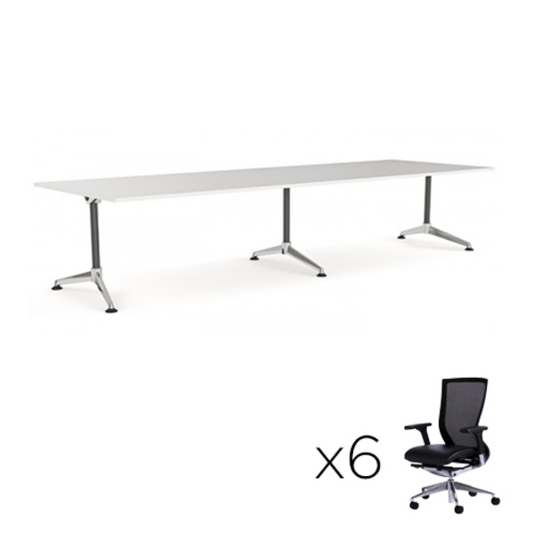 Modulus Meeting Table 2400 X 1200 + 6 Chairs Combo