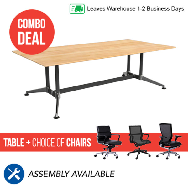 Modulus Solid Beech Table 2400 X 1200 + 6 Chairs Combo