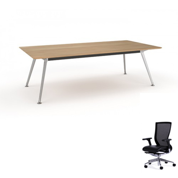 Modulus Team Solid Beech Table 2400 X 1200 + 6 Chairs Combo