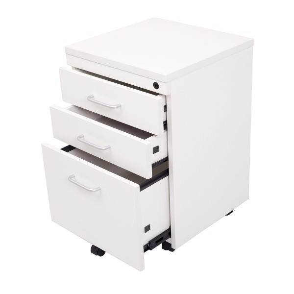 Mobile Pedestal 3 Drawer Lockable - White