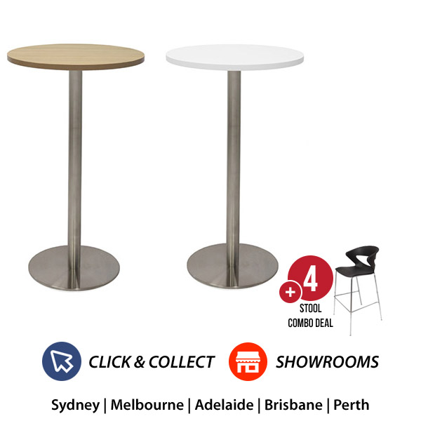 Dry Bar Round Table + 4 Bar Chairs Combo