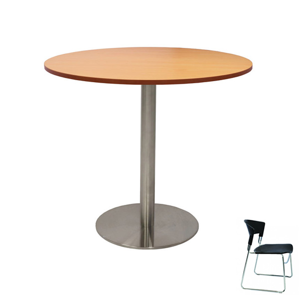 Chrome Base Round Meeting Table 1200 + 6 Chair Combo