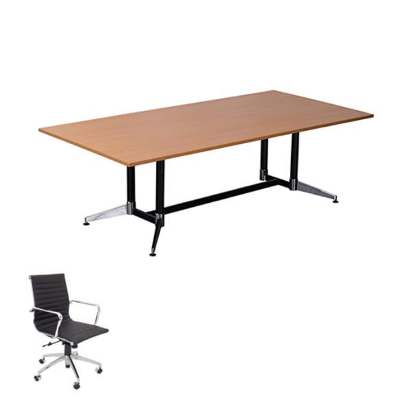 Rapid Typhoon Boardroom Table 2400 + 8 Chairs Combo