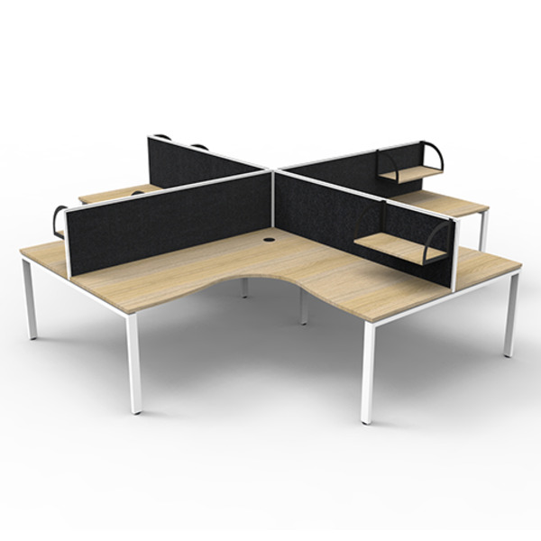 Deluxe Rapid Infinity  Profile Legs 4 Person Workstation Pod with Screens