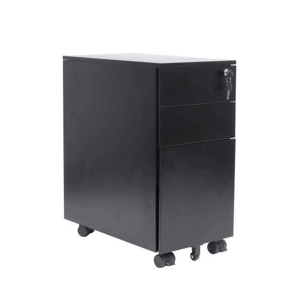 Mobile Metal Slimline Pedestal 3 Drawer Steel Filing Narrow Storage