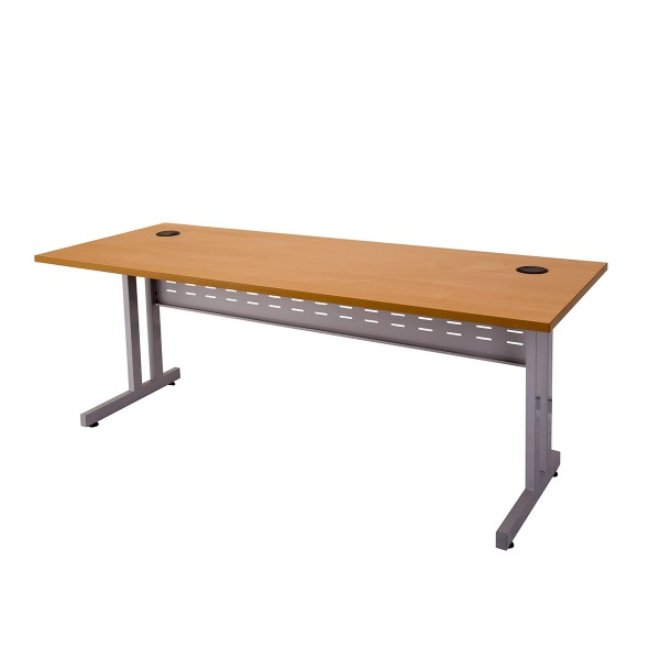 C Leg Home Office Desk with Metal Modesty Panel