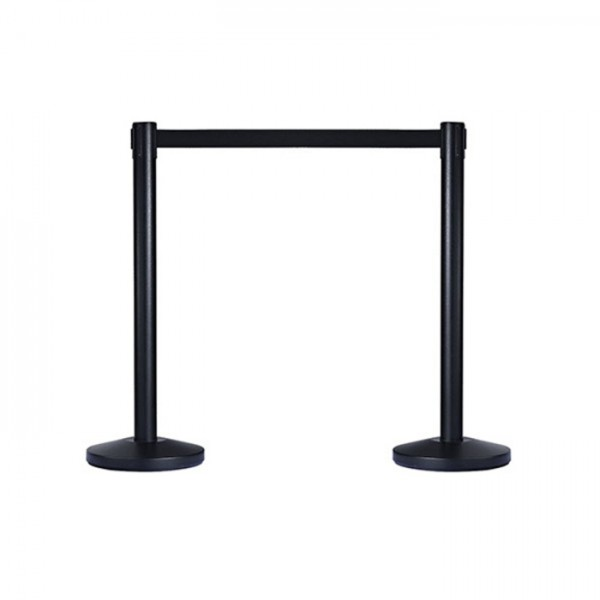 Retracta Crowd Control Stanchion Barrier Black Post Stand with 2m Belt