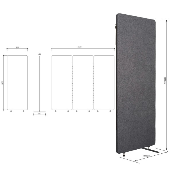 Zip 3 Panel Free Standing Acoustic Screen Partition Room Dividers