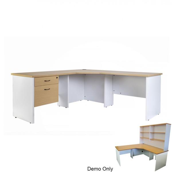 Logan Office Desk Corner Workstation with Optional Drawers & Hutch Storage