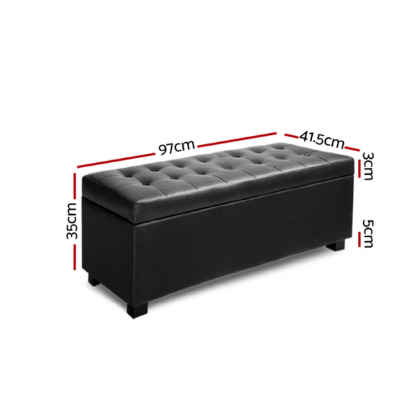 Artiss PU Leather Storage Ottoman - Black