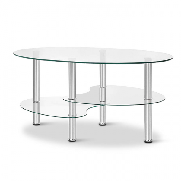 Glass Oval Coffee Table - Clear