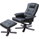 Massage Chair Recliner Ottoman Lounge with Footrest - Black
