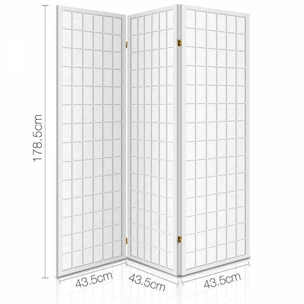 3 Panel Wooden Office Room Home Divider Partition Screen - White