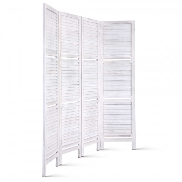 Artiss Foldable Partition Room Divider Privacy Screen 4 Panel Stand - White