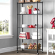 90cm 5-Tier Wire Shelving Unit Mobile Office Storage Trolley