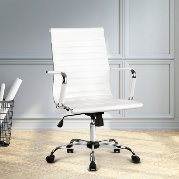Eames Replica Office Chair Executive Mid Back Seating White PU Faux Leather