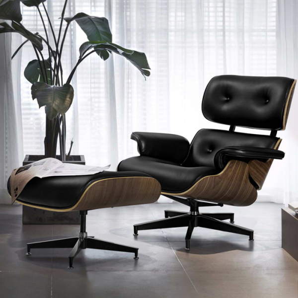 Artiss Armchair Lounge Chair and Ottoman Recliner Armchair Leather Plywood Black