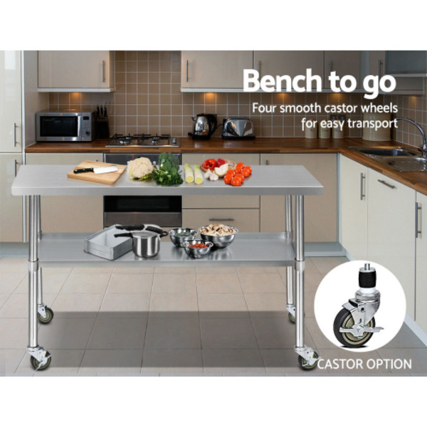 Cefito 304 Stainless Steel Bench Food Prep Table with Wheels