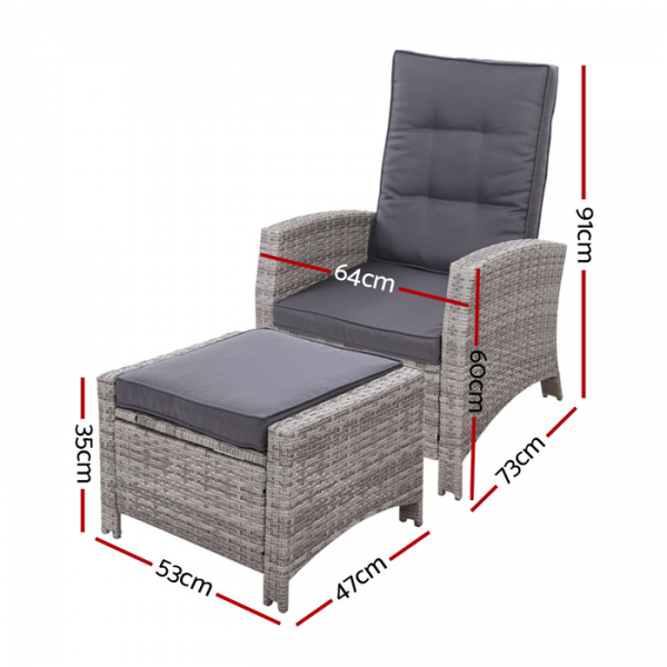 Gardeon Wicker Outdoor Recliner Chair Sun lounge with Ottoman Grey