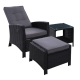 Gardeon 3 Piece Wicker Outdoor Recliner Chair Sun lounge - Black