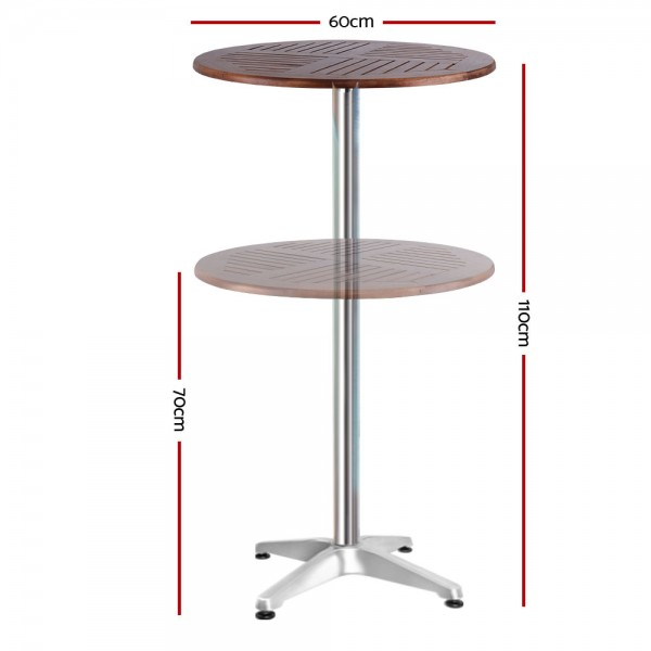 Height Adjustable Round Outdoor Bar Table Wooden Top Aluminium Base