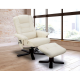 Massage Chair Recliner Ottoman Lounge with Footrest - Cream