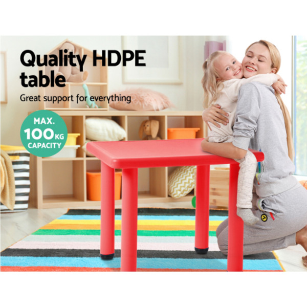 Keezi Steel Frame Plastic Top Square Kids Play Table Red