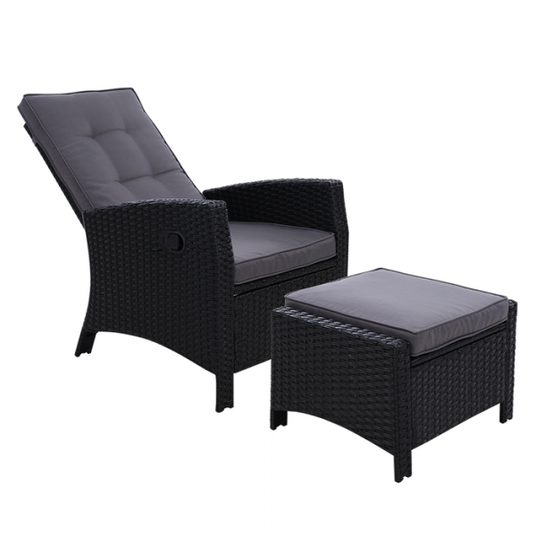 Gardeon Wicker Outdoor Recliner Chair Sun lounge with Ottoman - Black