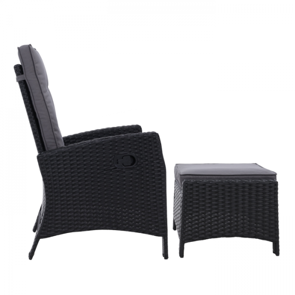 Gardeon Wicker Outdoor Recliner Chair Sun lounge with Ottoman Black