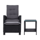 Gardeon 5 Piece Wicker Outdoor Recliner Chair Sun lounge - Balck