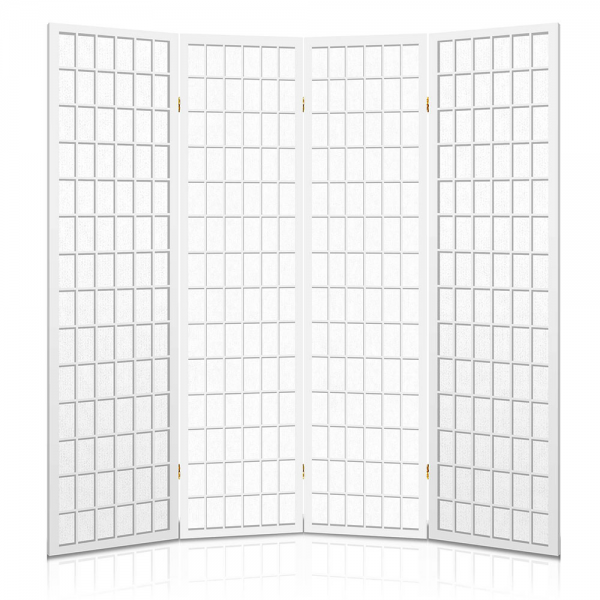 4 Panel Room Divider Partition Screen - White