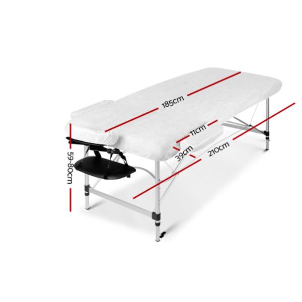 3 Fold Portable Massage Table Aluminium Construction Green and Black