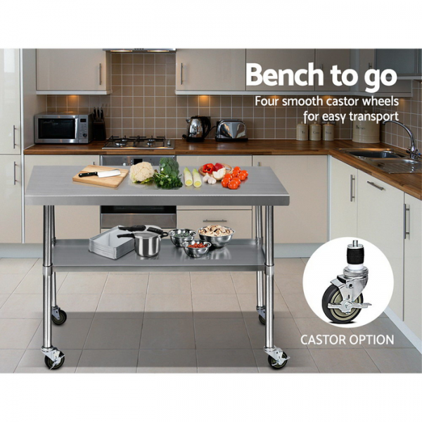 Cefito 1219 x 762mm Commercial Stainless Steel Bench with Castor Wheels