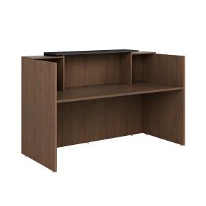 Sorrento Reception Counter Desk Regal Walnut & Charcoal
