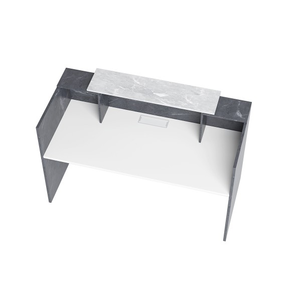 Sorrento Reception Counter Desk Marble Charcoal & Grey