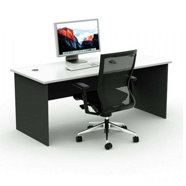 Straight Office Desk Computer Home Study Table with Cable Holes