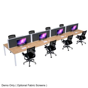 Strata Inline 8 Person Back to Back Office Desk Workstation with Optional Screens