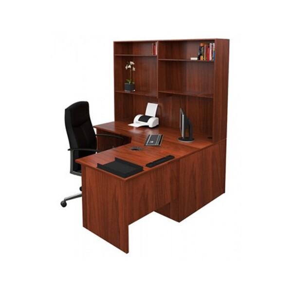 Origo Corner Workstation Office Desk with Hutch - Dark Cherry