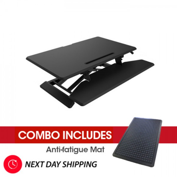 Sit To Stand Loctek Height Adjustable Desk Riser + FREE Anti Fatigue Mat