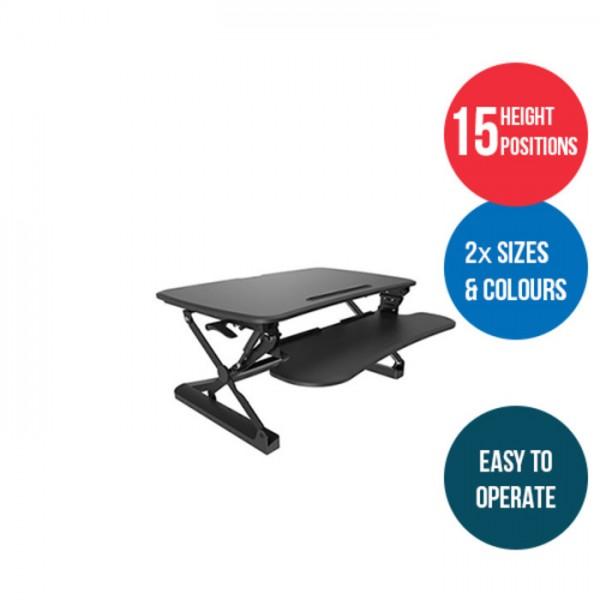 Arise Deskalator Sit Stand Desk Top Riser Retro Fit Universal Workstation Standing Desks