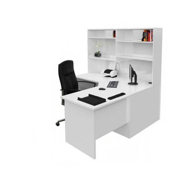 Origo Corner Office Desk Workstation with Hutch Shelving - White