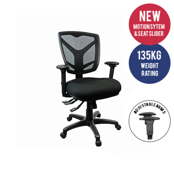 Monti Therapeutic Office chair Posture Correct Mesh Back Fully Ergonomic + Seat Slide & Arms