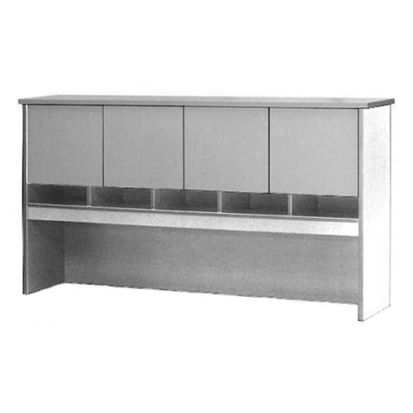 Desk Hutch With Doors & Pigeon Hole Storage - All White - Optional Combo Desk Pedestal