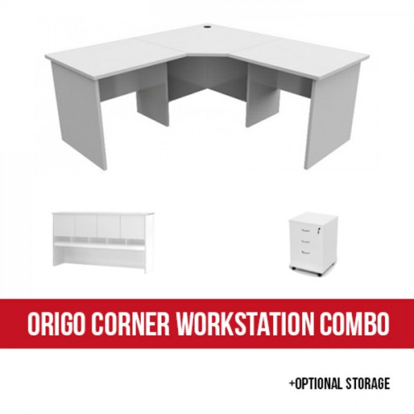 Origo Corner Workstation Desk Office Desks With Optional Storage - All White - Optional Combo Hutch Pedestal
