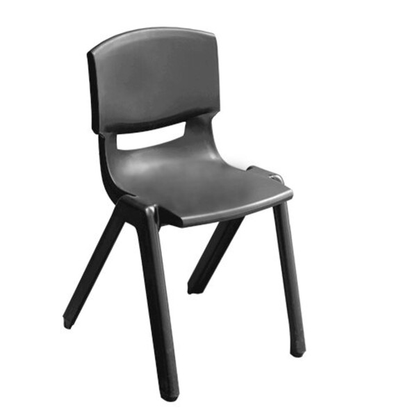 Charcoal Academy School Chair Plastic Stackable Chairs Optional Linking Device