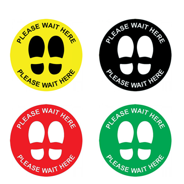 Pack of 10 - 250mm Social Distancing Decal No Slip Sticker Kit Commercial Grade Floor Marking Sign